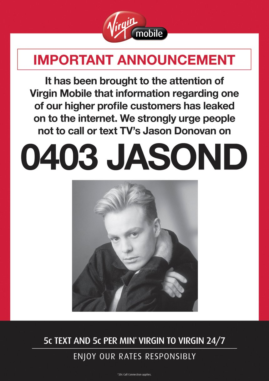 Virgin Mobile 'Jason Donovan' / The Glue Society / Members Spotlight Jonathan Kneebone
